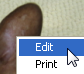 Right-clicking a photo and choosing the Edit menu
