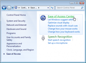 Choose Ease of Access Center