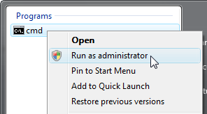 Right-click the word CMD and choose Run as Administrator from the pop-up menu.