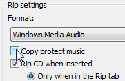 Remove the checkmark from Copy Protect Music