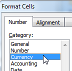 Formatting cells in a spreadsheet