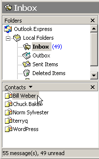 Outlook Express normally lists your Contacts in its bottom left corner.