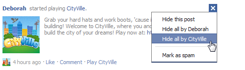 When the Remove pulldown menu appears, click Hide all by CityVille.