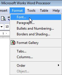 Choose Font from the Format menu.
