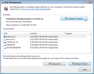 Windows 7's Disk Defragmenter program lists all your drives, when they were last run, and their percentage of fragmentation. (You want to see zero percent listed.)