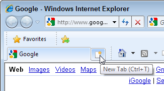 Click the stub   of a tab to the right of your tabs to open a blank  page.