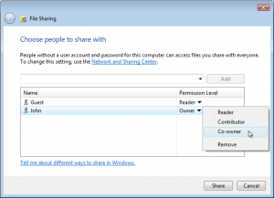 Choose Co-Owner to give everybody full control over the folder's contents.