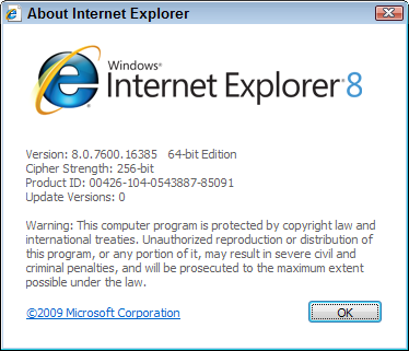 Choose About from Internet Explorer's Help menu to see if you're running the program's 32-bit or 64-bit version.