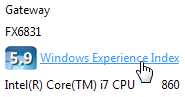 Click the words Windows Experience Index to see a computer's strengths and weaknesses.