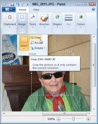 Windows 7's built-in Paint program can crop photos.