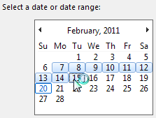 Select a date or date range from the current month's calendar.