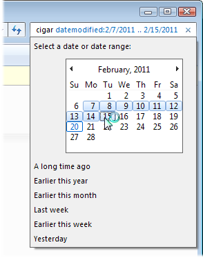 Searching by Date in Windows 7.