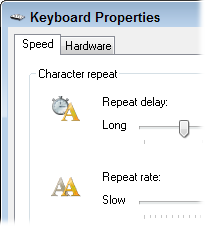 Adjust how quickly your keyboard repeats when you hold down a character.