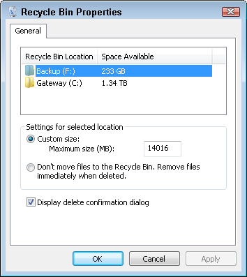 Right-click your Recycle Bin and choose Properties to see your deleted files.