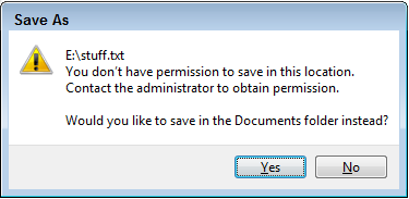 Sometimes Windows Vista says you lack permission to save a file to a flash drive.