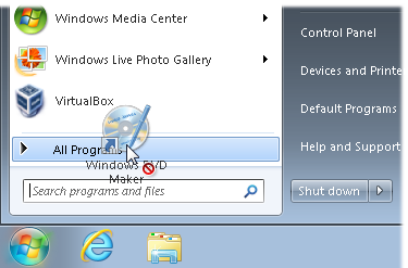 Drag an icon to the All Programs area and wait for the menu to open.