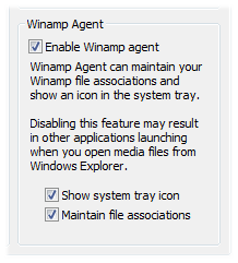 "Uncheck ""Winamp Agent"" to keep Winamp from being the default program."