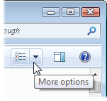 Click the downward-pointing arrow to the right of the Change Your View icon near the folder's upper, right corner.