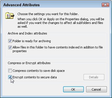 "Click to remove the checkmark next to the words, ""Encrypt contents to secure data."""