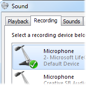 Adjusting your microphone settings in Windows.