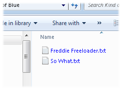 Windows Explorer displays compressed files with blue letters.