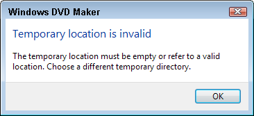 Temporary Location is Invalid