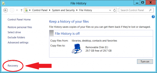Choose Recovery from the File History window's bottom, left corner.