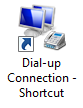 Dial-up connection shortcut