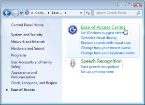 Choose Ease of Access Center