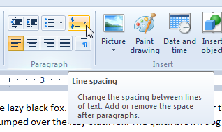 Changing line spacing in WordPad