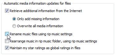"Remove the checkmark from ""Rename Music Files Using Rip Settings."""