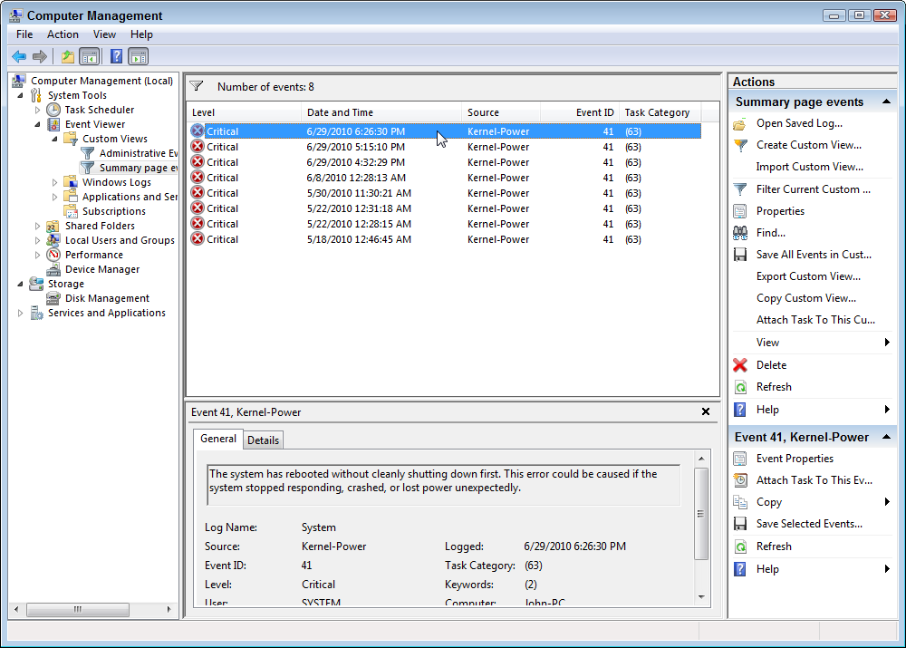 Kernel power event 41 task 63 windows 10 | System spontaneously