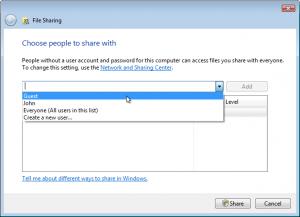 In Windows Vista, choose Guest.