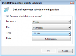 Click the Configure Schedule button to change when Windows 7 defragments your hard drive.