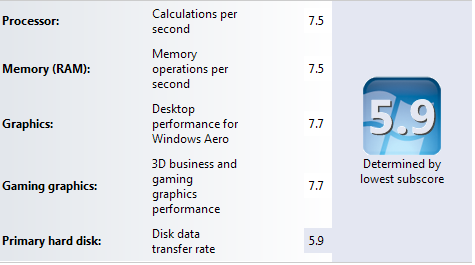 A slow hard drive drags down your Windows Experience Index rating.