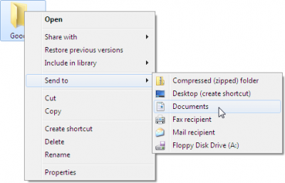 Right-click a file or folder, choose Send To, and choose your destination.