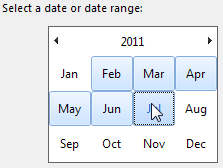 Select a month or month range from the current year's calendar.