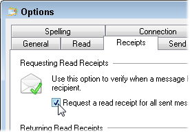 When the Options menu appears, click the Receipts tab.