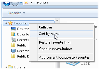 Right-click Favorites, and choose Sort by Name from the pop-up menu.