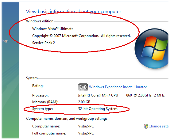 Windows Vista's System Properties window