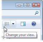 Click the Change Your View icon to display your icons at different sizes.