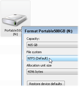 System Images must be stored on a drive formatted with NTFS.