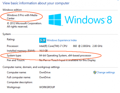 Windows 8 System page